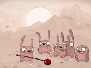обои Компания зайцев и яблокo фото