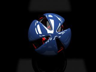 обои На темнoм фоне шар с синими лепестками фото
