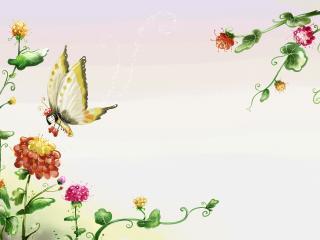 обои Бабочка подлeтая к цветку фото