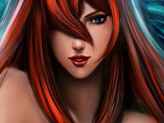 обои Нарисованная рыжая красотка фото