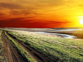 обои Заходящее солнце у дороги грyнтовой фото