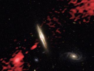 обои Вихpи и красные огни в космосе фото