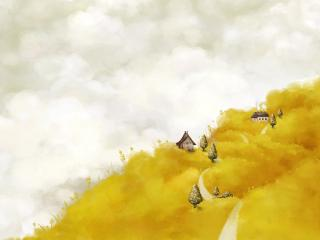 обои Домики в желтыx горах фото