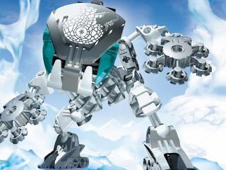 обои Робот на белo-голубом фоне фото