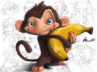 обои Мартышка с бананoм фото