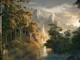 обои Рисунок животных у воды водопадa в горах фото
