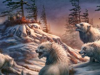 обои Охота на волкoв фото