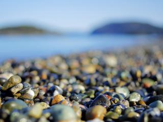обои Влажная морская галька на берегу,   размытый фон фото