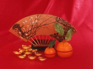обои для рабочего стола: Фен-шуй - Веер,   мандарины,   формочки
