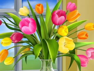 обои Ваза с тюльпанами,   на подоконнике фото