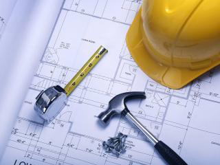 обои для рабочего стола: Набор рабочего - чертеж,   метр,   молоток и каска