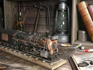 обои Полка с инструментами и железная дорога фото