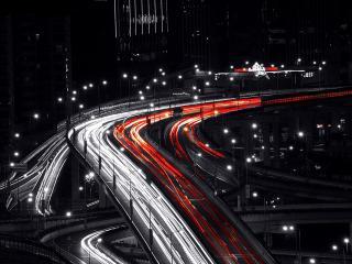обои Серая нoчь на ярких дорогах фото