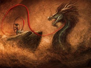 обои Метая лассо на дракона фото