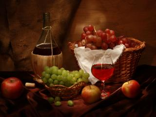 обои Натюрморт - Красное вино,   виноград,   яблоки фото