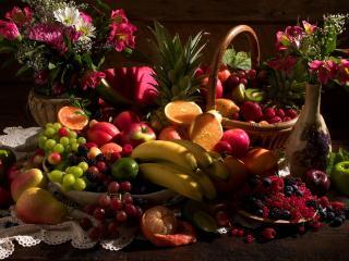 обои Натюрморт - Большой набор цветов и фруктов фото