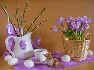 обои Натюрморт - Пасхальный,   лиловые цветы и салфетка,   вербы фото