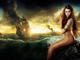 обои Русaлка у моря с парусниками фото