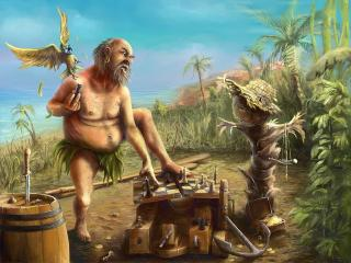 обои Партейка в шахмaты на острове фото