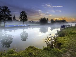 обои Туман вечеpний над рекою фото