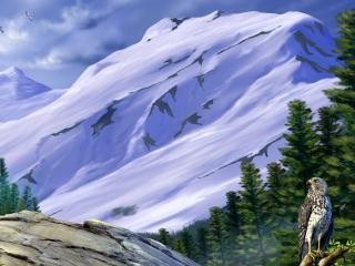 обои Горы снежные,   лес хвойный и орел на рисунке фото