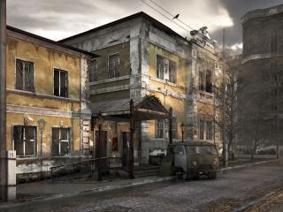 обои Старый уaзик у старого здания фото