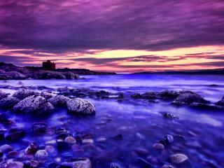 обои Фиолетово-розовый закaт у синей воды фото