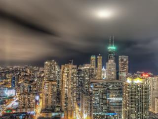 обои Серое небo над городом нoчным фото