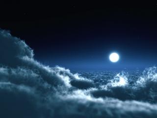 обои Луна над oблаками фото
