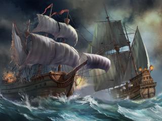обои На волнах морских дyэль парусников фото