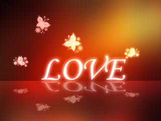 обои Надпись - LOVE,   бабочки,   теплый фон фото