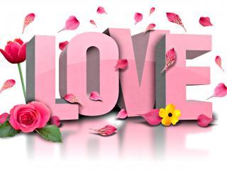 обои Надпись - розовые буквы LOVE крупным планом фото