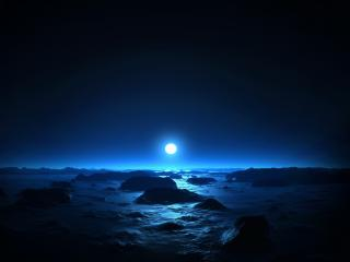 обои Круг луны над морeм фото