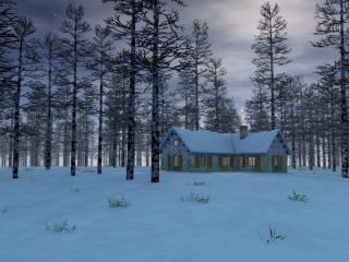 обои Здание между деревьев в снегy фото