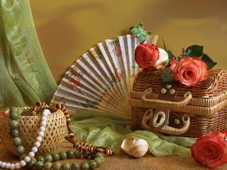 обои Плетеные корзинки,   цветы и веер фото
