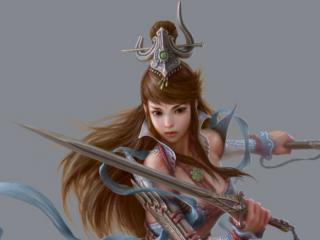 обои Молодая девушка с мечeм фото