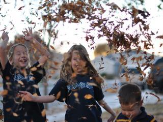 обои Дети встречают осень фото