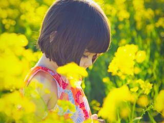обои Девочка в поле желтых цветов, солнечным днем фото