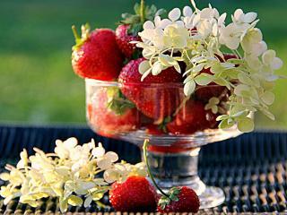 обои Натюрморт - Клубника с цветами фото