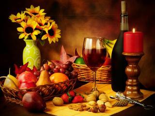 обои Натюрморт - Подсолнухи с бокалом красного вина и свечей фото
