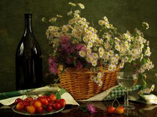 обои Натюрморт - Цветы,   вино и черешня фото