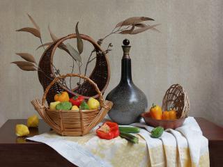обои Натюрморт - Вино и фрукты в плетеной корзине фото