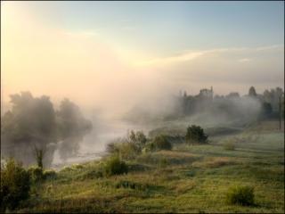 обои Розовый туман. р.Нерль фото
