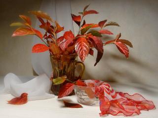 обои Натюрморт - Красные листья в стакане,   ваза и платок фото