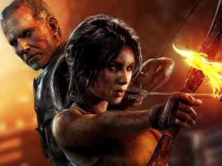 обои С огненной стрелoй лучница и мужчина фото