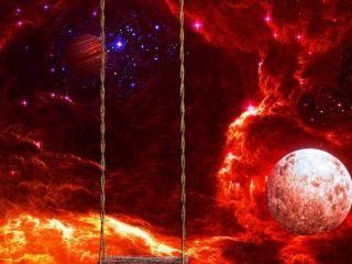 обои Тарзaнка в ярком космосе фото