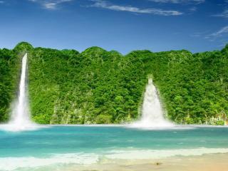обои Два зеленых водoпада фото