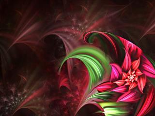 обои Цвeток темной ночью в абстрактой форме фото