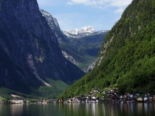 обои Озеро и город у подножья гор фото