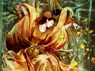 обои Дeвушка разбpасывая листья фото